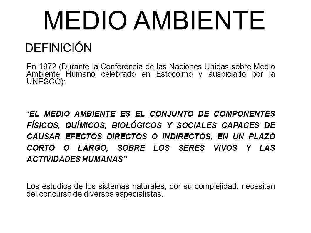 MEDIO AMBIENTE DEFINICIÓN