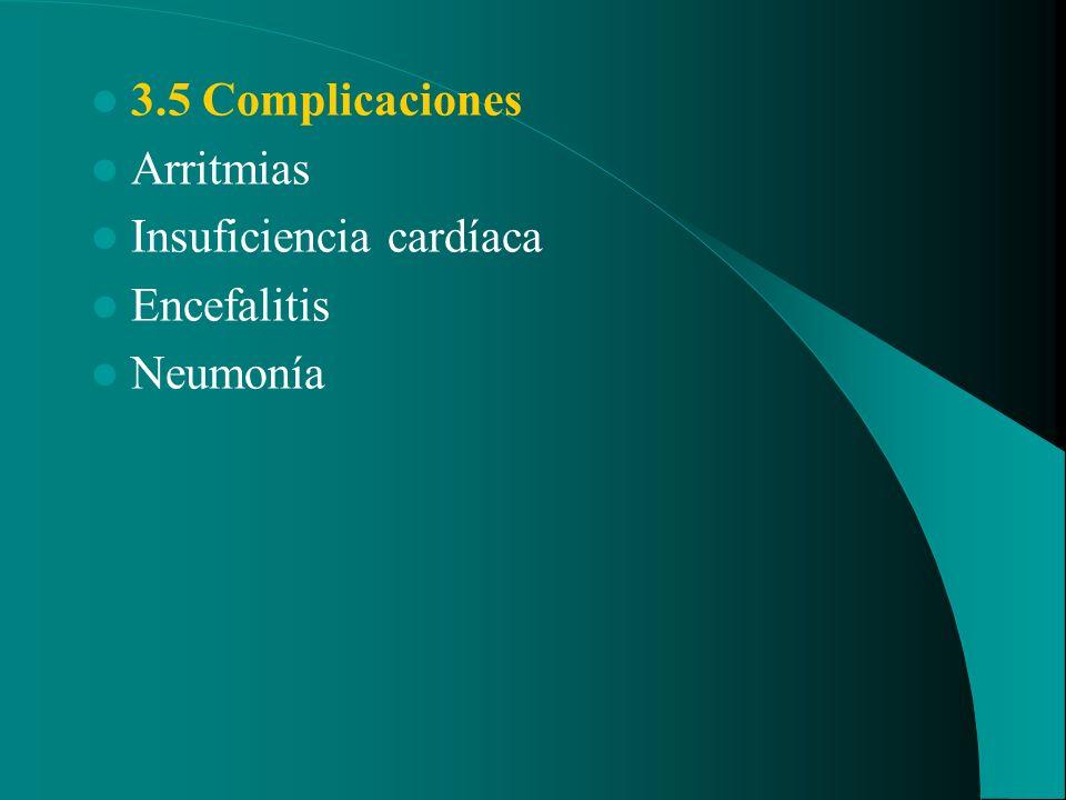 3.5 Complicaciones Arritmias Insuficiencia cardíaca Encefalitis Neumonía