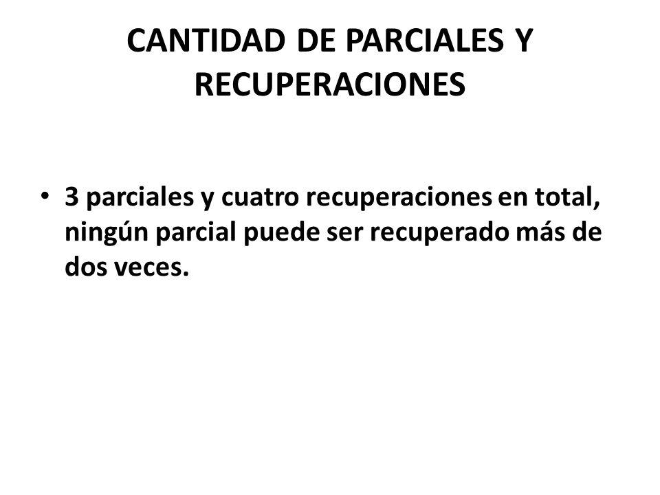 CANTIDAD DE PARCIALES Y RECUPERACIONES