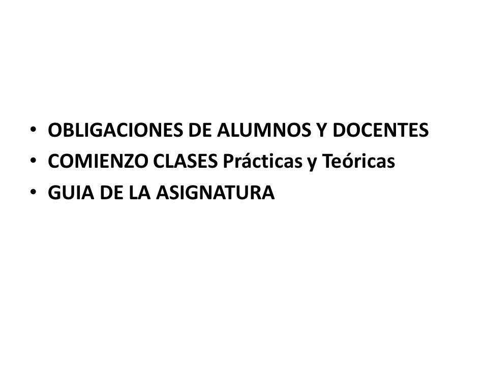 OBLIGACIONES DE ALUMNOS Y DOCENTES