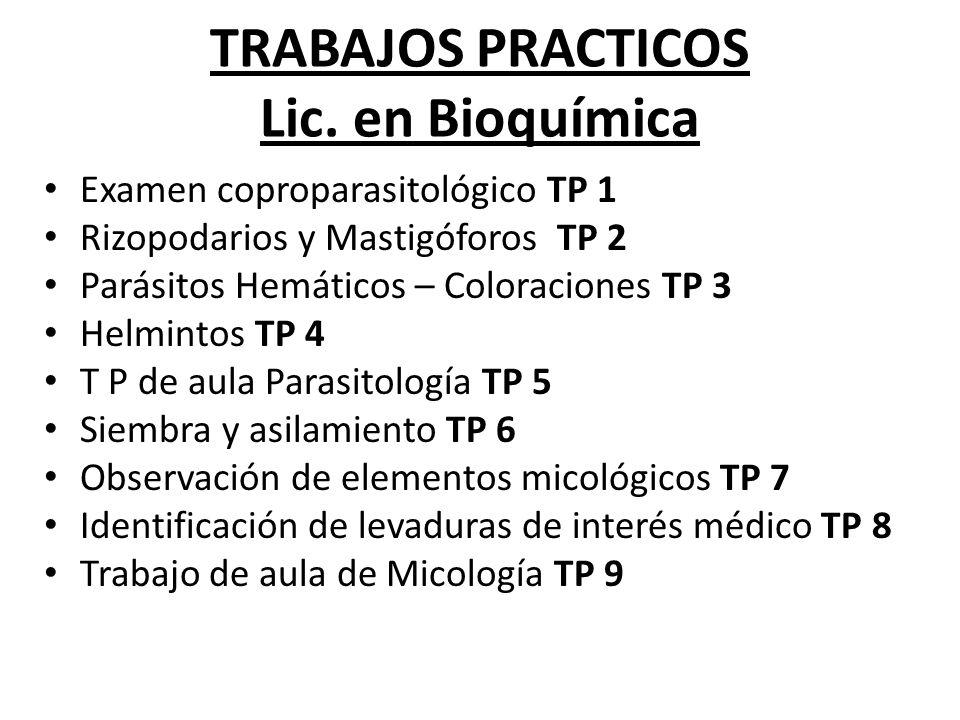 TRABAJOS PRACTICOS Lic. en Bioquímica