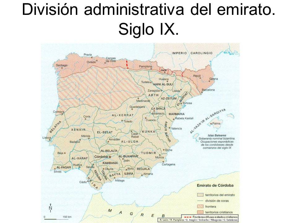 División administrativa del emirato. Siglo IX.