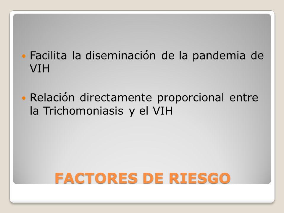 FACTORES DE RIESGO Facilita la diseminación de la pandemia de VIH
