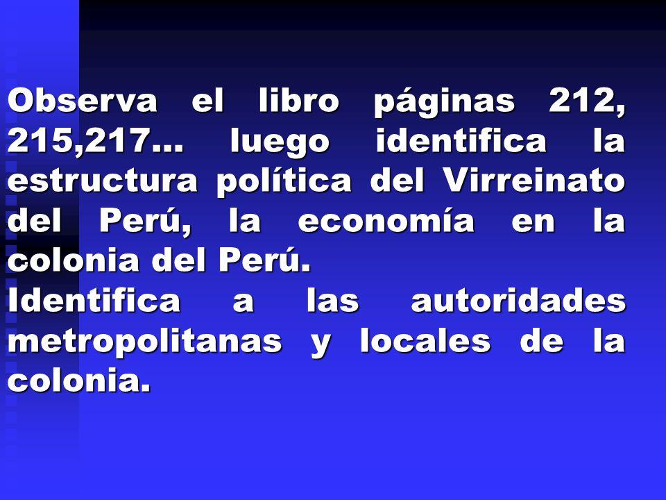 Identifica a las autoridades metropolitanas y locales de la colonia.
