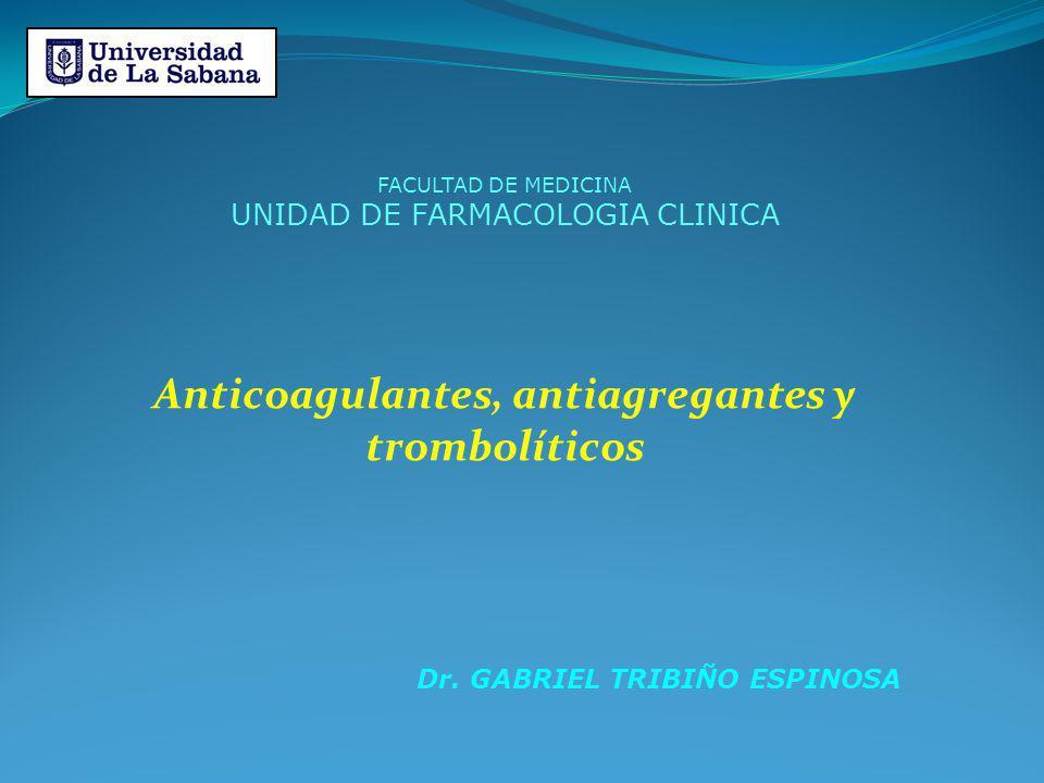 Anticoagulantes, antiagregantes y trombolíticos