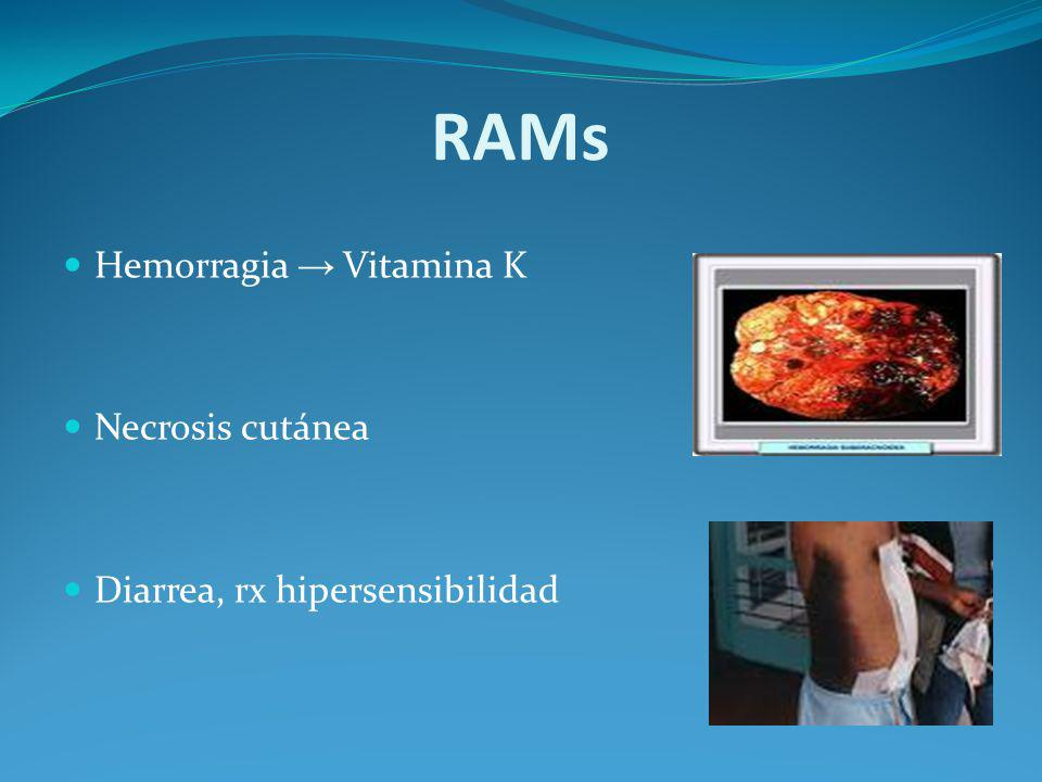 RAMs Hemorragia → Vitamina K Necrosis cutánea