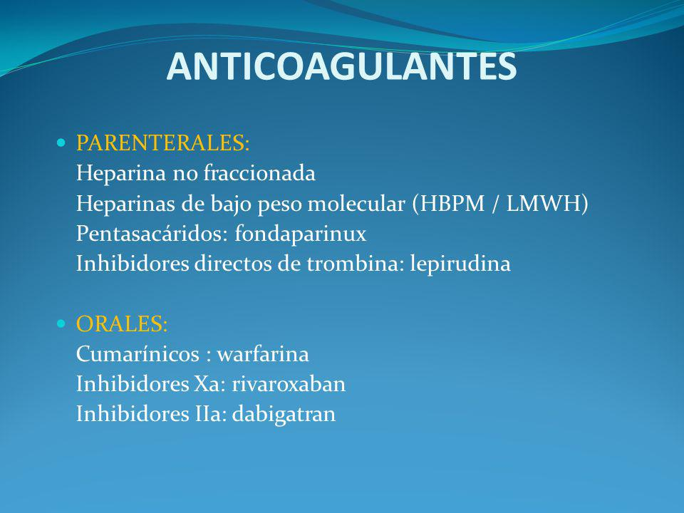 ANTICOAGULANTES PARENTERALES: Heparina no fraccionada