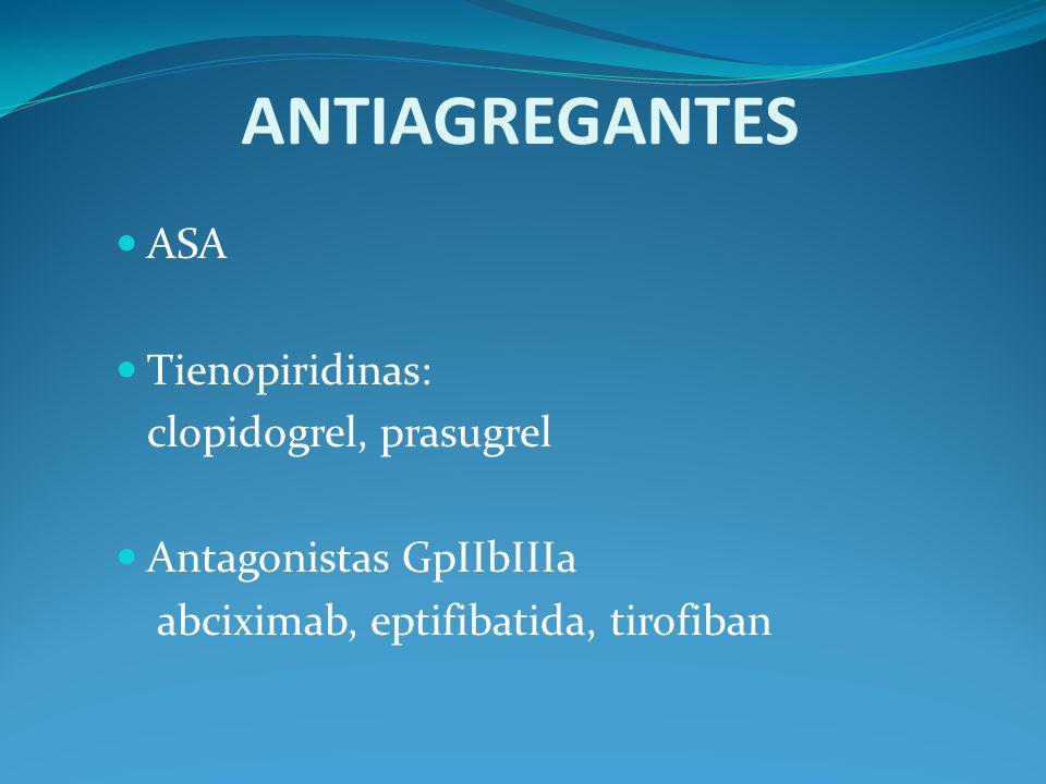 ANTIAGREGANTES ASA Tienopiridinas: clopidogrel, prasugrel