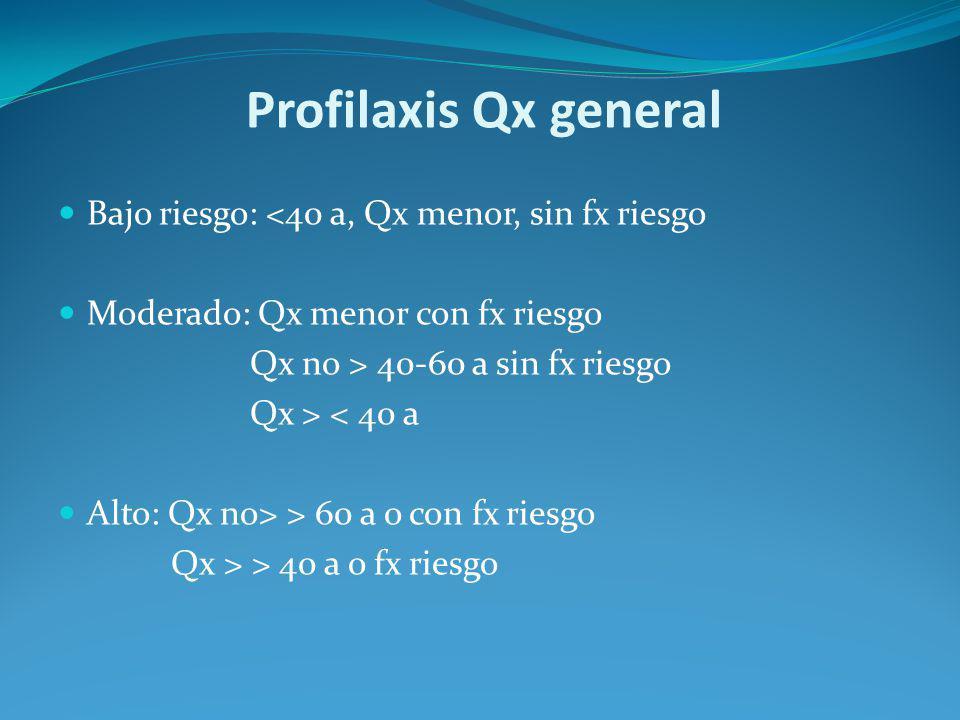 Profilaxis Qx general Bajo riesgo: <40 a, Qx menor, sin fx riesgo