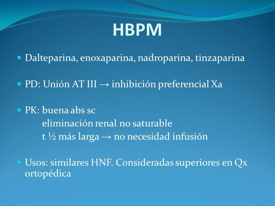 HBPM Dalteparina, enoxaparina, nadroparina, tinzaparina