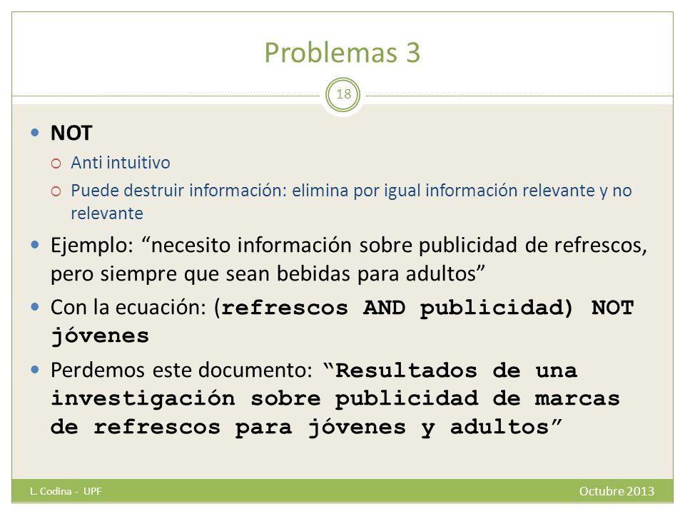 Problemas 3 NOT. Anti intuitivo. Puede destruir información: elimina por igual información relevante y no relevante.