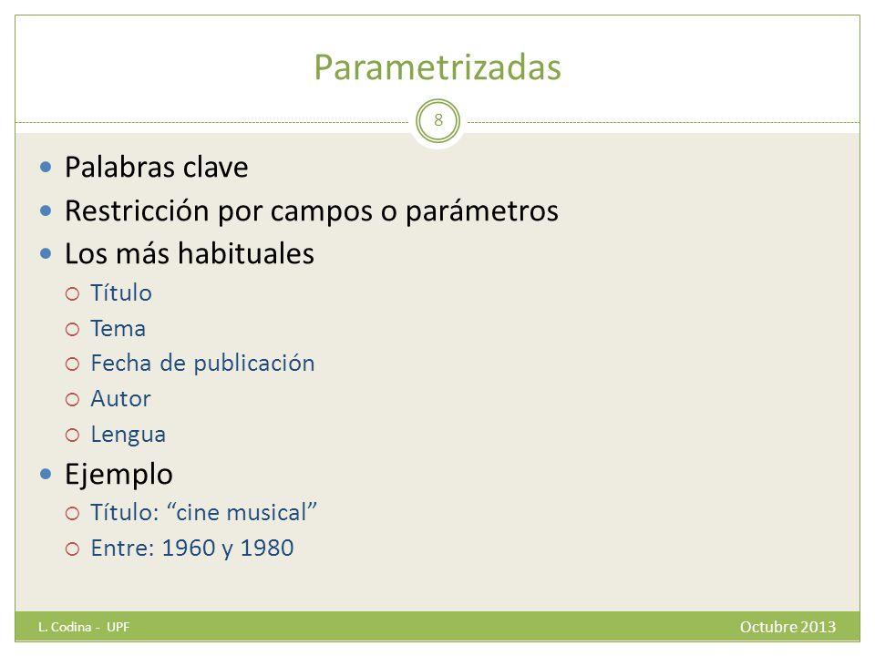 Parametrizadas Palabras clave Restricción por campos o parámetros