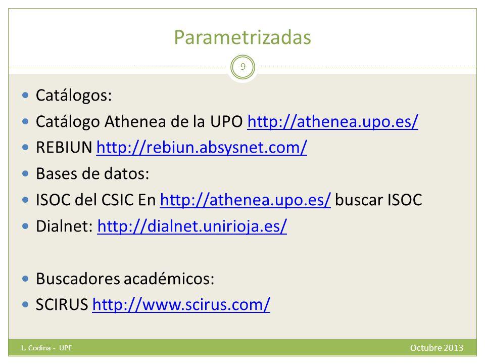 Parametrizadas Catálogos: