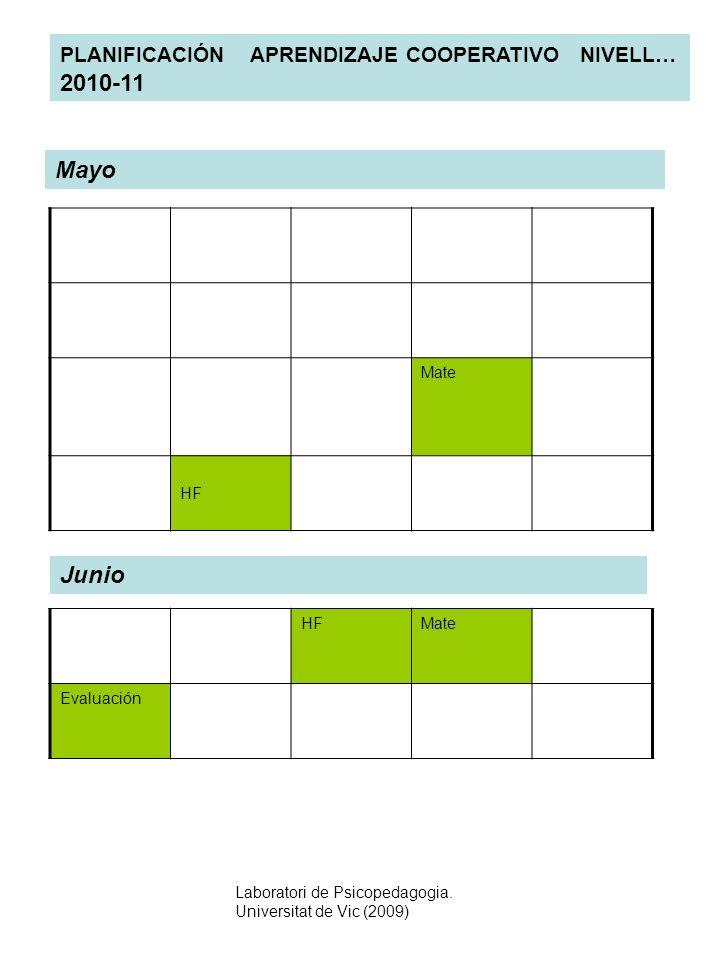 Mayo Junio PLANIFICACIÓN APRENDIZAJE COOPERATIVO NIVELL… 2010-11 Mate
