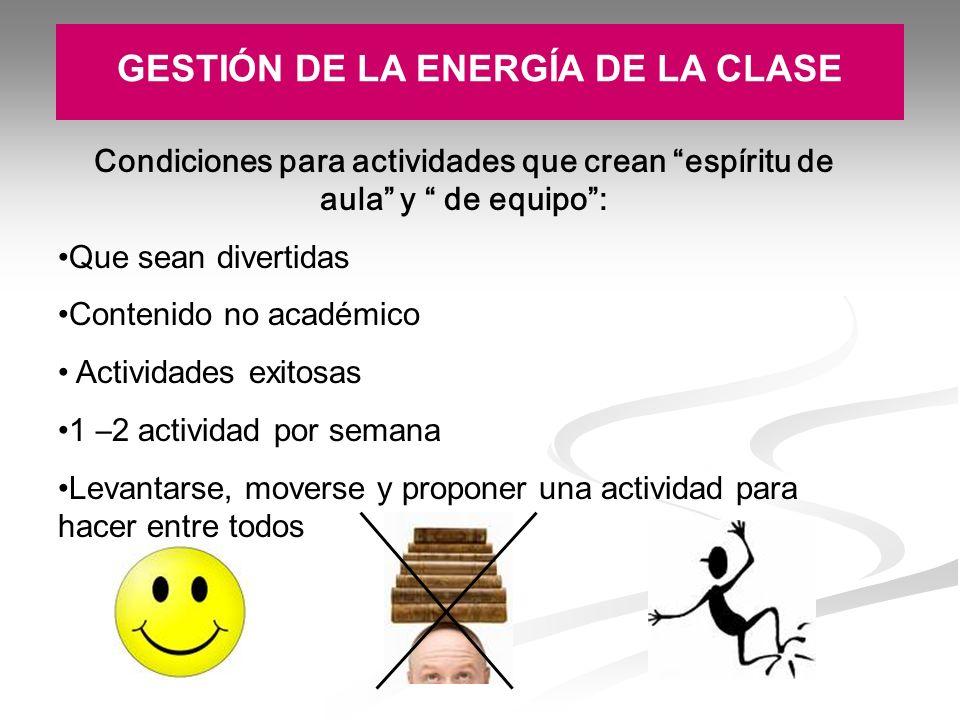 GESTIÓN DE LA ENERGÍA DE LA CLASE
