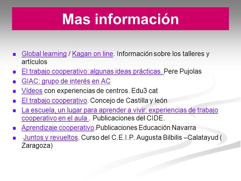 Mas información Global learning / Kagan on line. Información sobre los talleres y artículos.