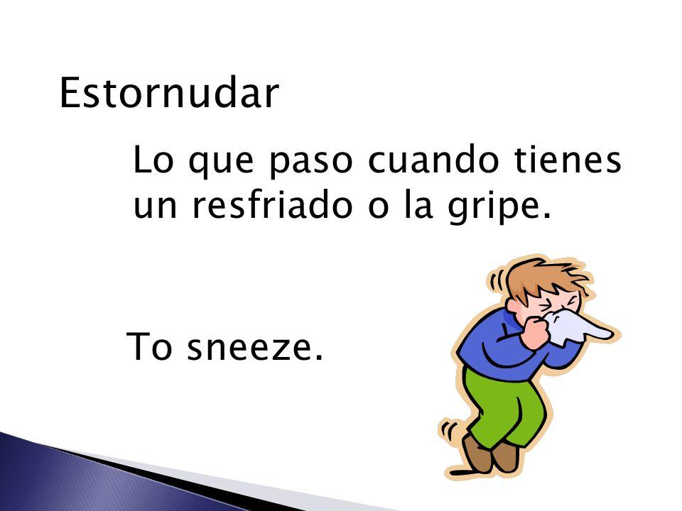Estornudar Lo que paso cuando tienes un resfriado o la gripe.