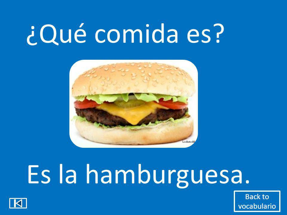 ¿Qué comida es Es la hamburguesa. Back to vocabulario