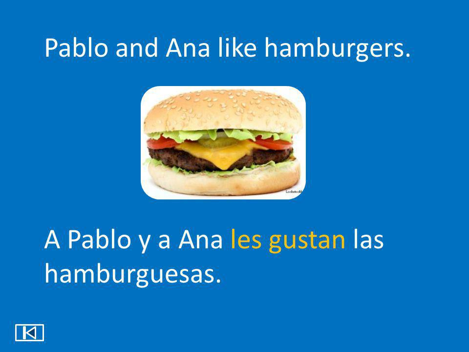 Pablo and Ana like hamburgers.