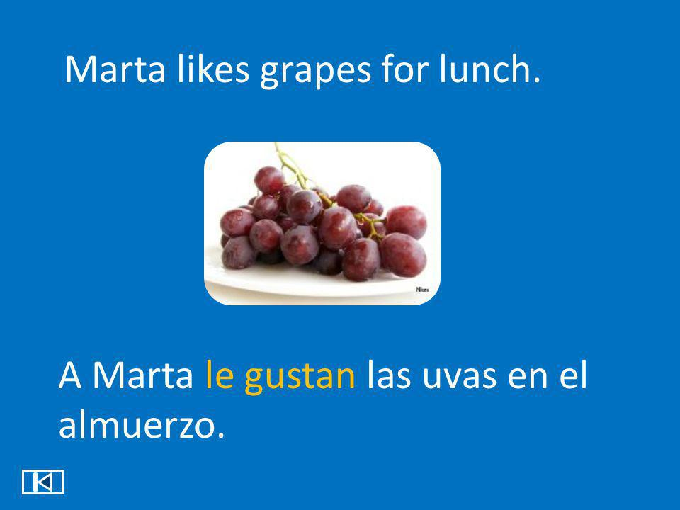 Marta likes grapes for lunch.