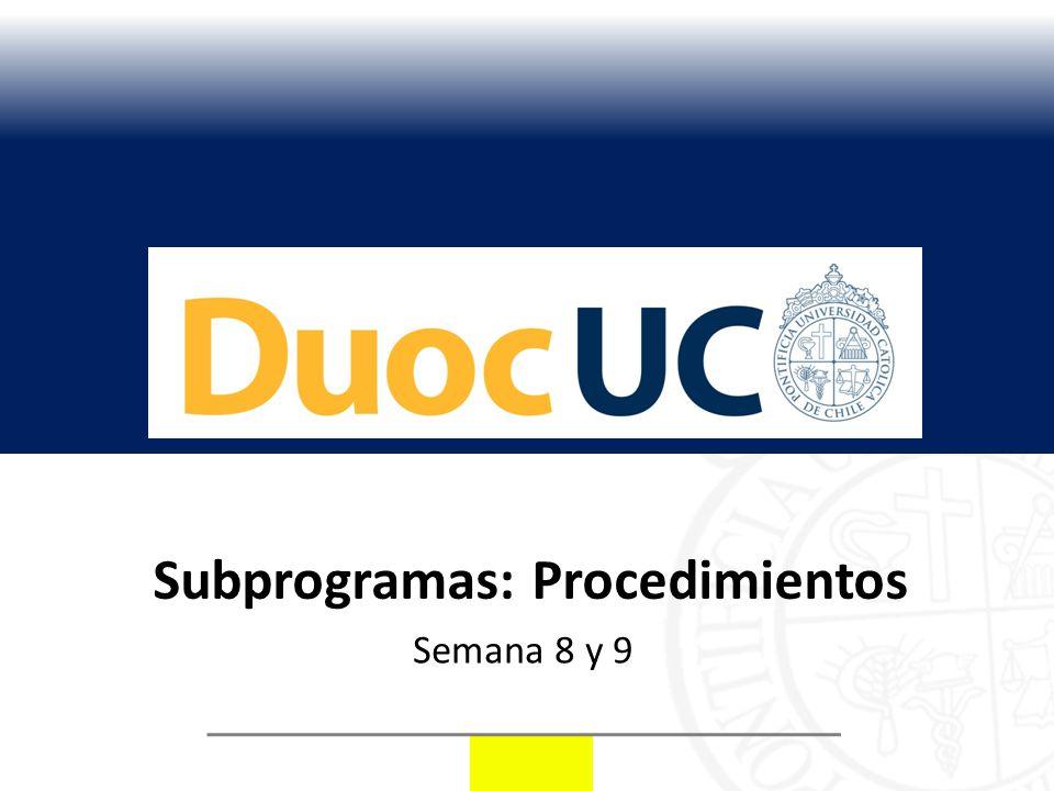 Subprogramas: Procedimientos