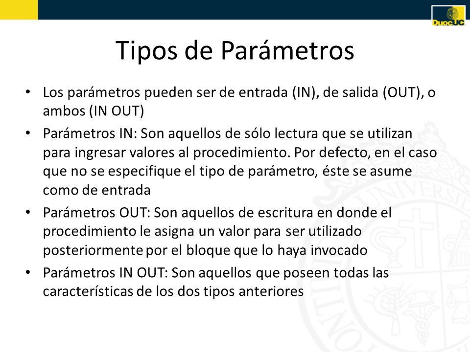 Tipos de Parámetros Los parámetros pueden ser de entrada (IN), de salida (OUT), o ambos (IN OUT)