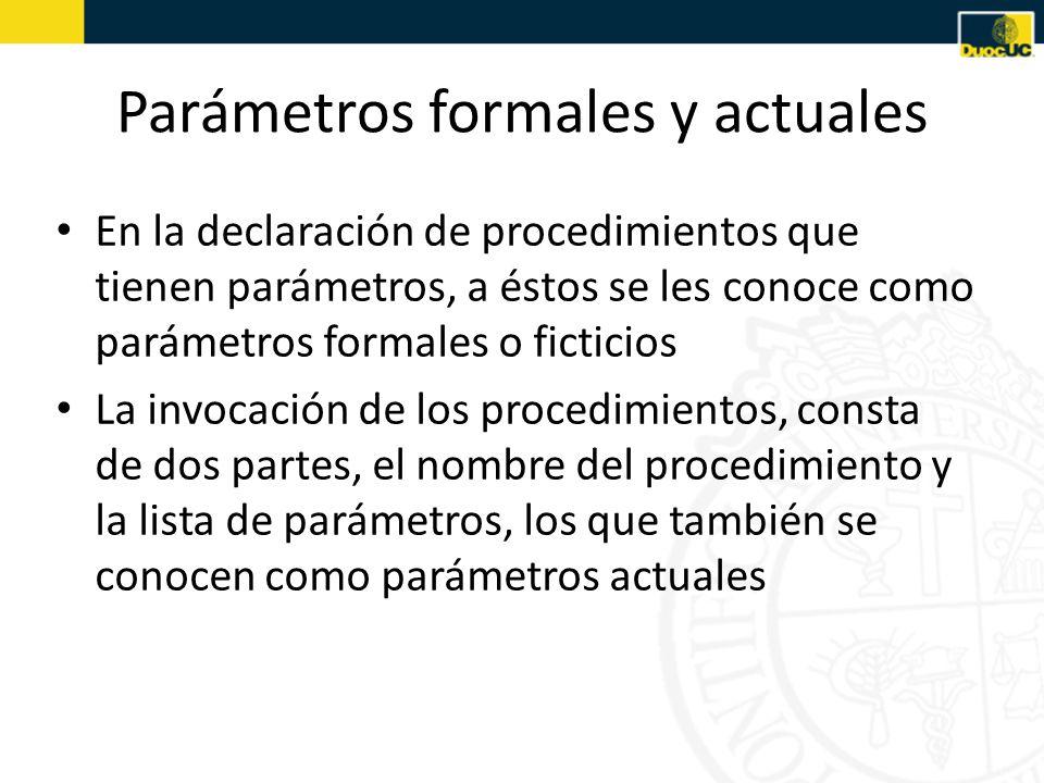 Parámetros formales y actuales