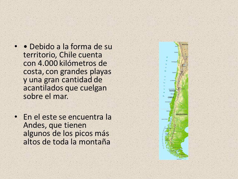 • Debido a la forma de su territorio, Chile cuenta con 4