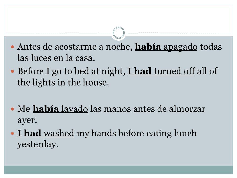 Antes de acostarme a noche, había apagado todas las luces en la casa.