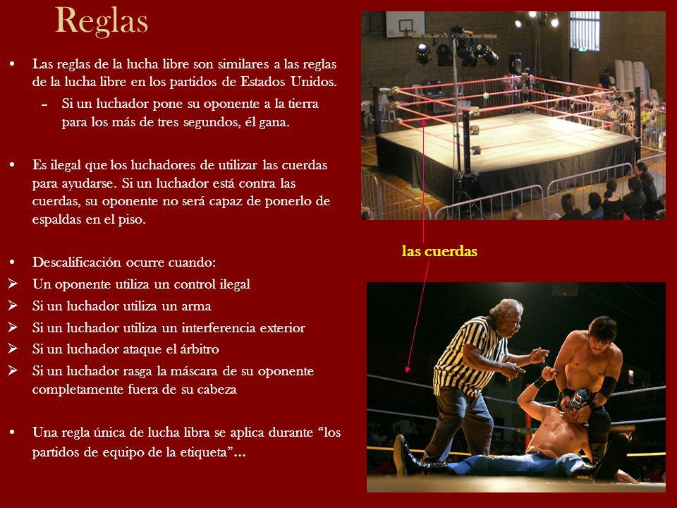 Reglas Las reglas de la lucha libre son similares a las reglas de la lucha libre en los partidos de Estados Unidos.