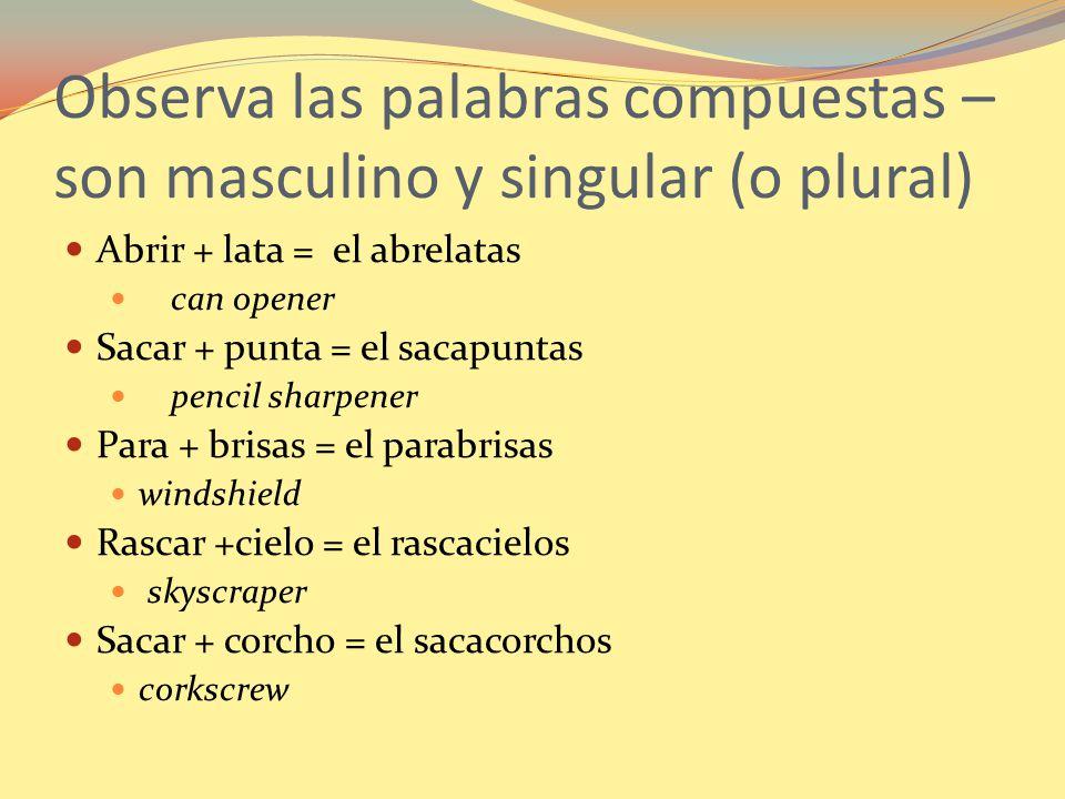Observa las palabras compuestas – son masculino y singular (o plural)