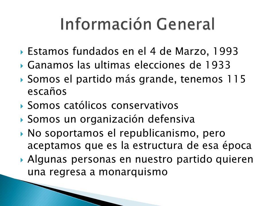 Información General Estamos fundados en el 4 de Marzo, 1993