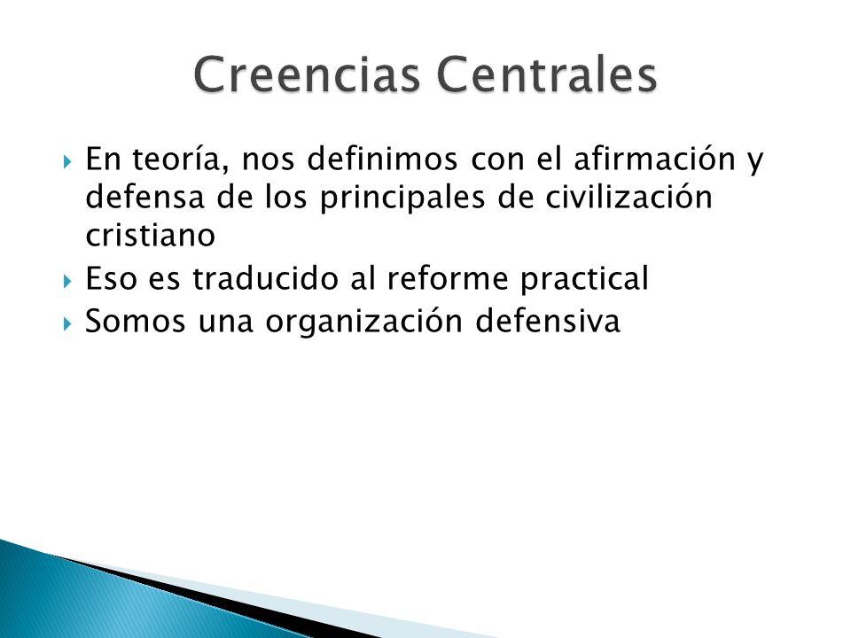 Creencias Centrales En teoría, nos definimos con el afirmación y defensa de los principales de civilización cristiano.