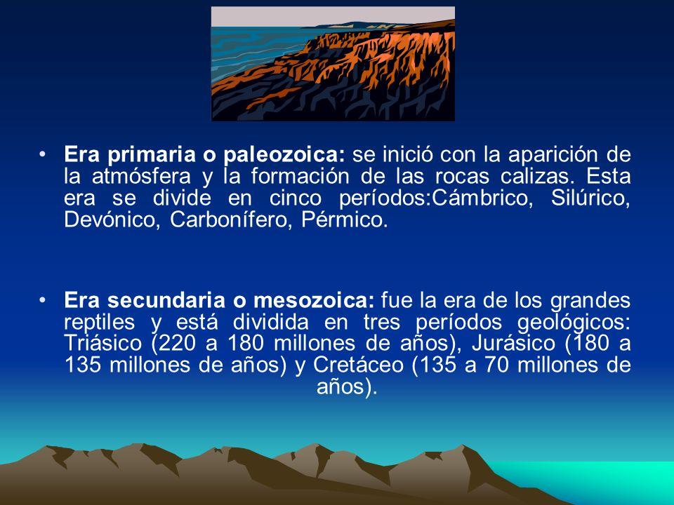 Era primaria o paleozoica: se inició con la aparición de la atmósfera y la formación de las rocas calizas. Esta era se divide en cinco períodos:Cámbrico, Silúrico, Devónico, Carbonífero, Pérmico.