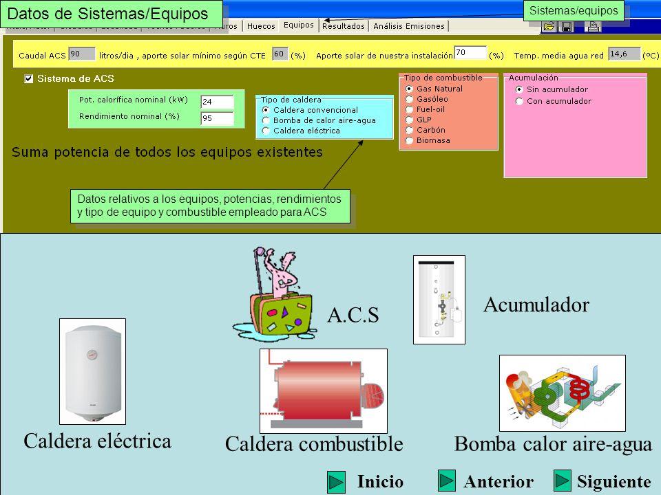 Acumulador A.C.S Caldera eléctrica Caldera combustible