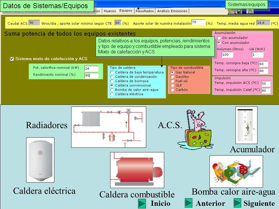 Radiadores A.C.S. Acumulador Caldera eléctrica Bomba calor aire-agua