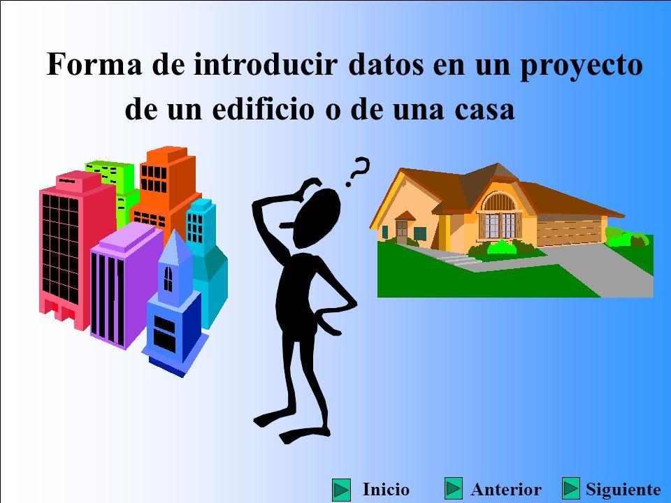 Forma de introducir datos en un proyecto de un edificio o de una casa