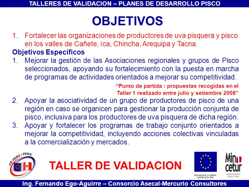 OBJETIVOS TALLER DE VALIDACION