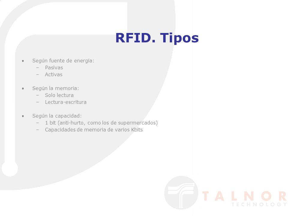 RFID. Tipos Según fuente de energía: Pasivas Activas Según la memoria: