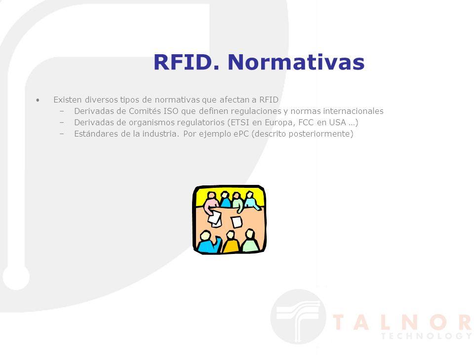 RFID. Normativas Existen diversos tipos de normativas que afectan a RFID. Derivadas de Comités ISO que definen regulaciones y normas internacionales.