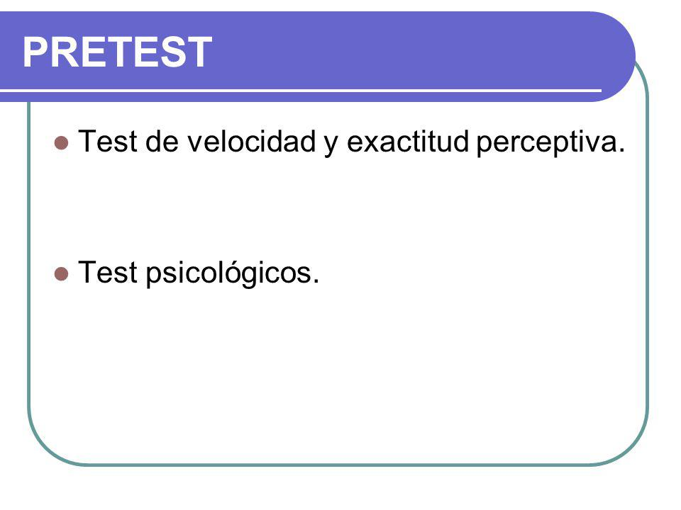 PRETEST Test de velocidad y exactitud perceptiva. Test psicológicos.