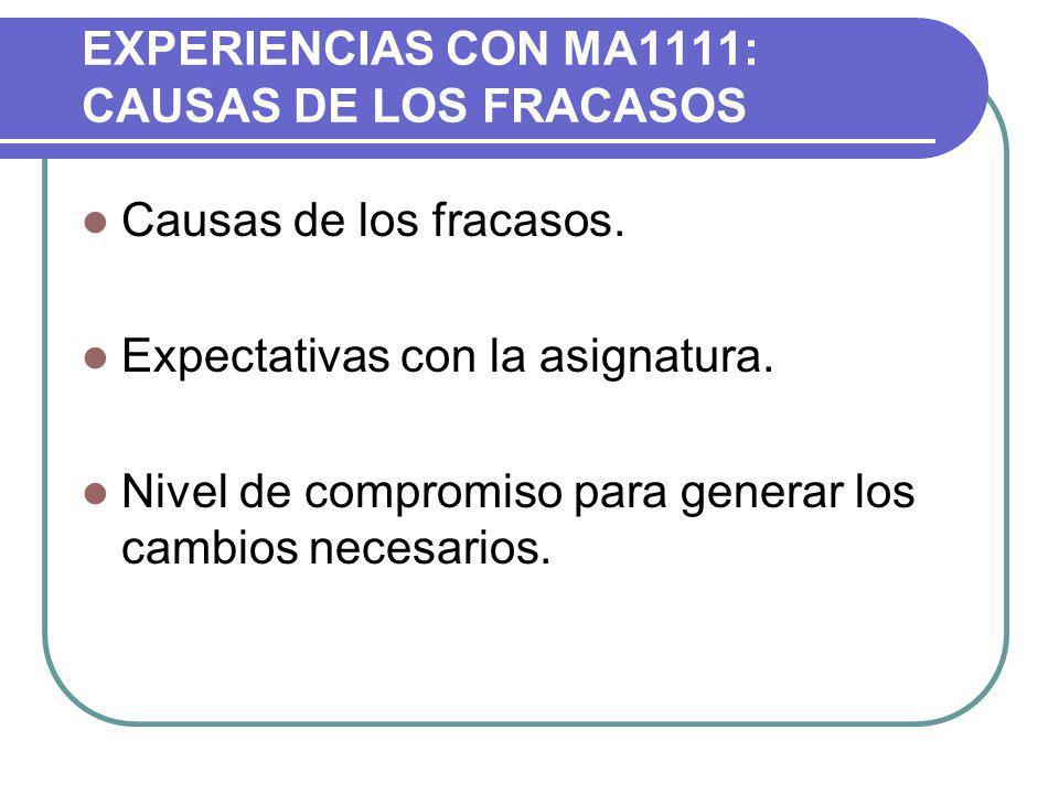 EXPERIENCIAS CON MA1111: CAUSAS DE LOS FRACASOS
