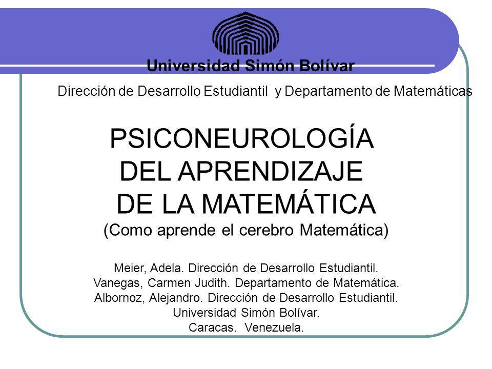 PSICONEUROLOGÍA DEL APRENDIZAJE DE LA MATEMÁTICA