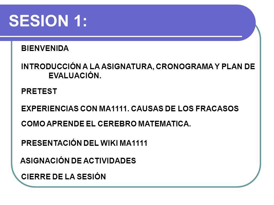 SESION 1: BIENVENIDA. INTRODUCCIÓN A LA ASIGNATURA, CRONOGRAMA Y PLAN DE. EVALUACIÓN. PRETEST. EXPERIENCIAS CON MA1111. CAUSAS DE LOS FRACASOS.