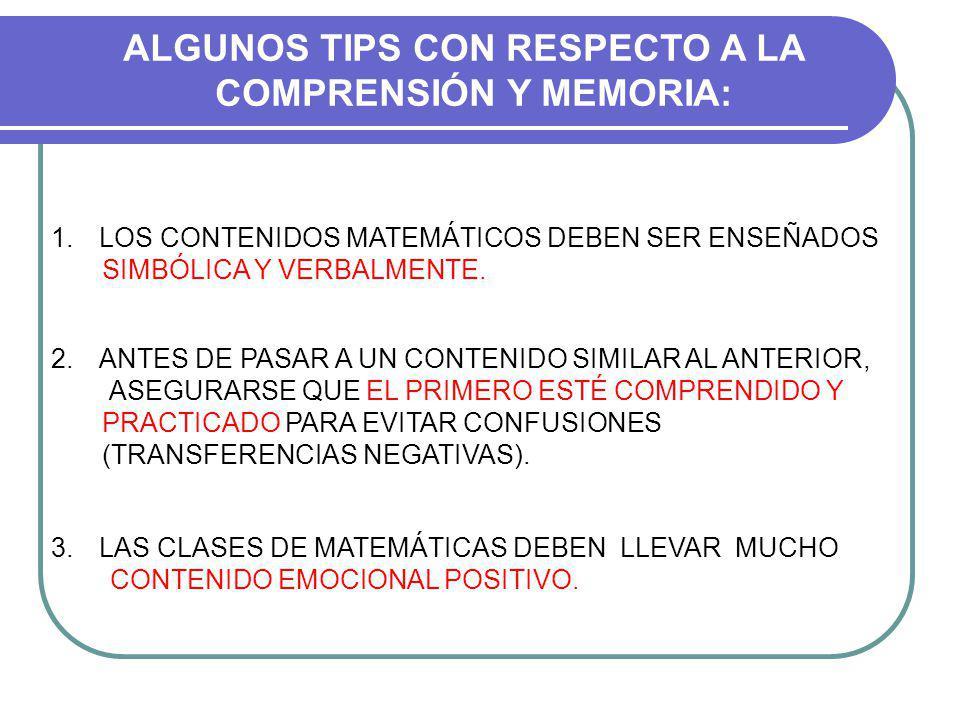 ALGUNOS TIPS CON RESPECTO A LA COMPRENSIÓN Y MEMORIA: