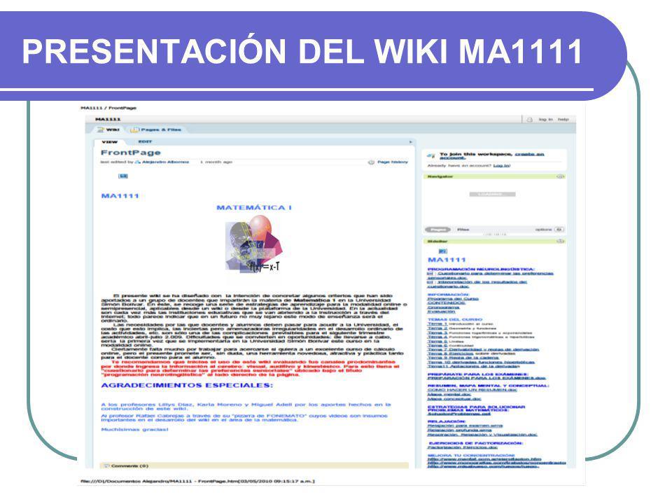 PRESENTACIÓN DEL WIKI MA1111
