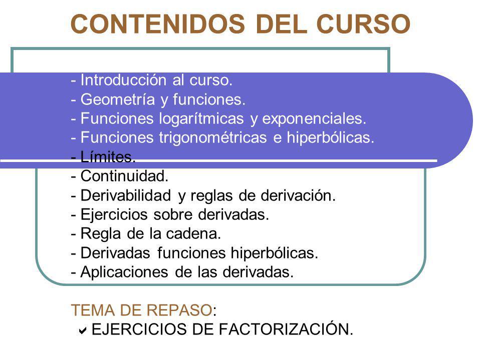 CONTENIDOS DEL CURSO - Introducción al curso. - Geometría y funciones.