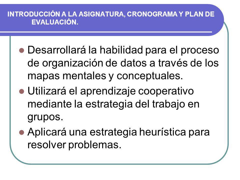 INTRODUCCIÓN A LA ASIGNATURA, CRONOGRAMA Y PLAN DE EVALUACIÓN.