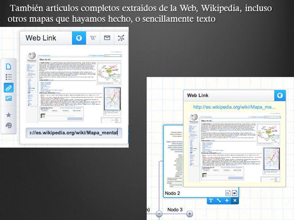 También artículos completos extraídos de la Web, Wikipedia, incluso otros mapas que hayamos hecho, o sencillamente texto