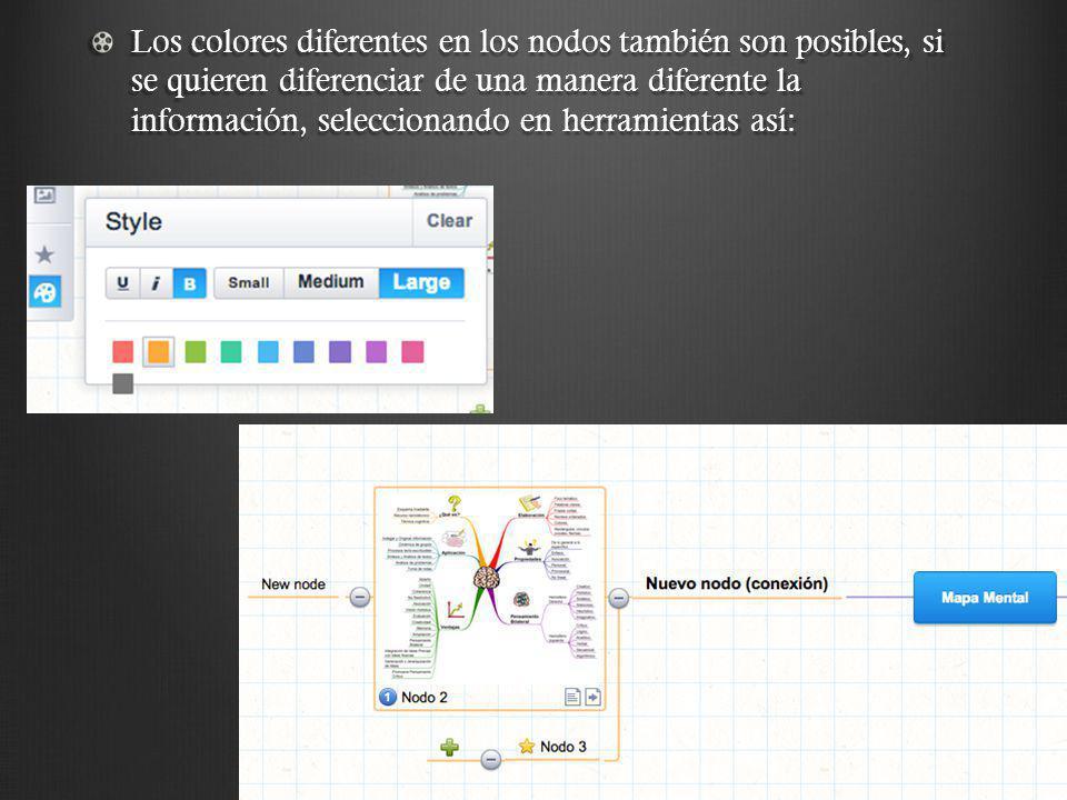 Los colores diferentes en los nodos también son posibles, si se quieren diferenciar de una manera diferente la información, seleccionando en herramientas así: